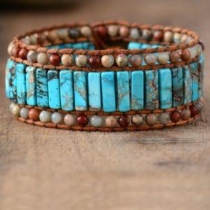 Bracelet Unique Natural Stone jasper bead Leather
